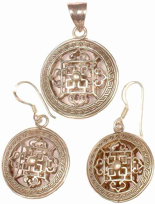 Mandala Pendant & Earrings Set