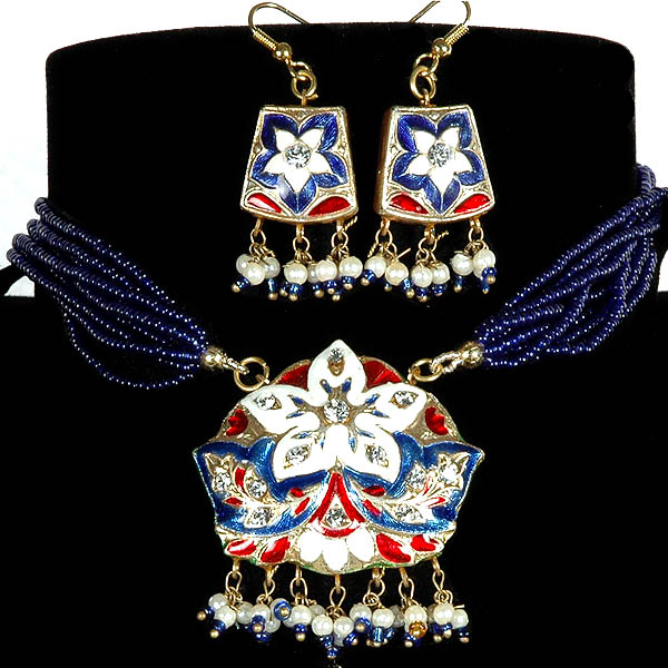 Ultramarine-Blue Star-Spangled Necklace and Earrings with Beads