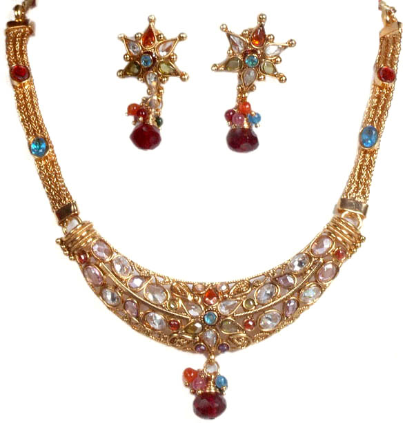Polki Necklace and Earrings Set with Mixed Faux Gemstones
