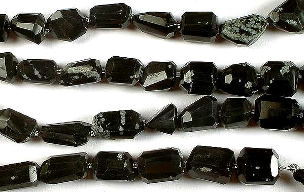 Obsidian Snow Flake Faceted Tumbles