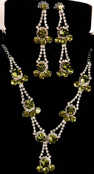 Olive Green Designer Necklace with Earrings