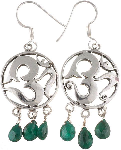 OM (AUM) Earrings with Green Onyx Dangles