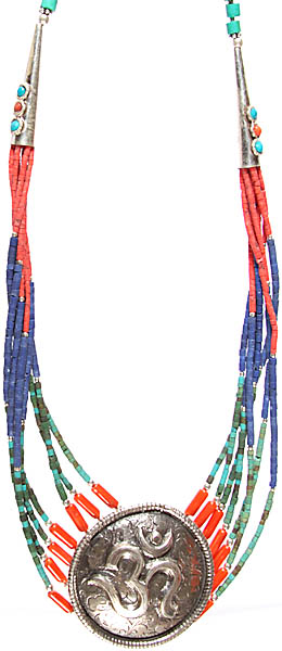 Om (AUM) Necklace with Coral, Lapis Lazuli, and Turquoise