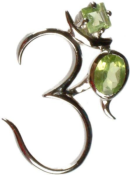 Om (AUM) with Fine Cut Twin Peridot Pendant