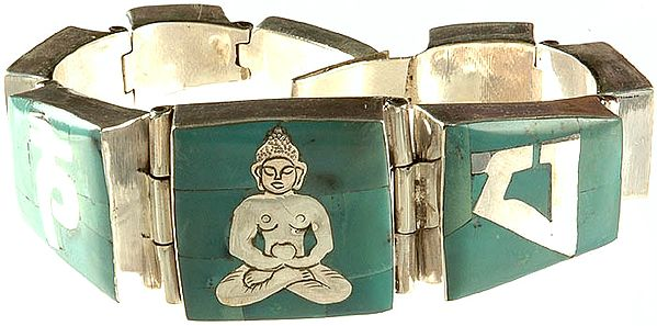 Om Mani Padme Hum Bracelet with Central Buddha