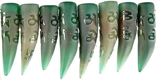 Om Mani Padme Hum On Green Onyx Claws