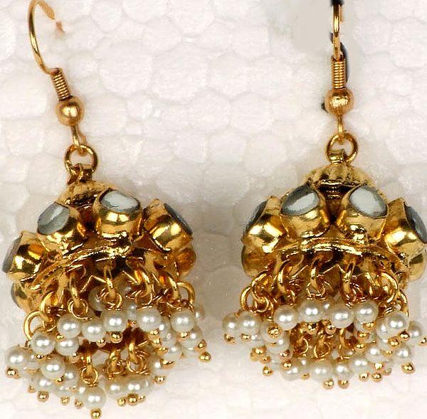 Pearl Kundan Chandelier Earrings