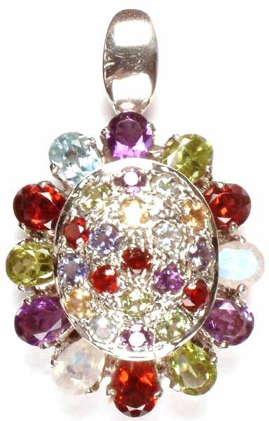 Tortoise Pendant of Fine Cut Gemstones