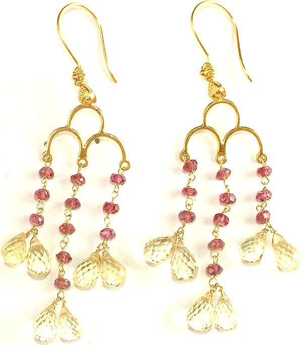 Pink Tourmaline & Citrine Chandeliers
