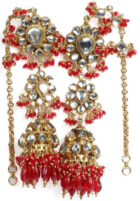 Red Earwrap Kundan Umbrella Earrings with Glass Beads