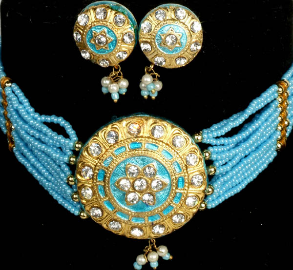 Robin-Egg and Golden Solar Necklace and Earrings Set with Beads