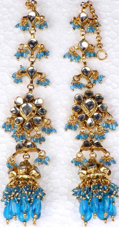 Robin-Egg Earwrap Kundan Earrings with Cut Glass Beads
