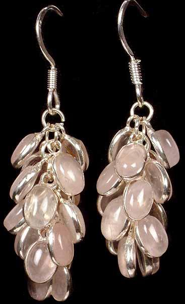 Rose Quartz Bunch Earrings