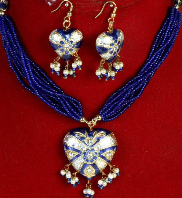 Royal-Blue Victoria Cross Necklace and Earrings Set