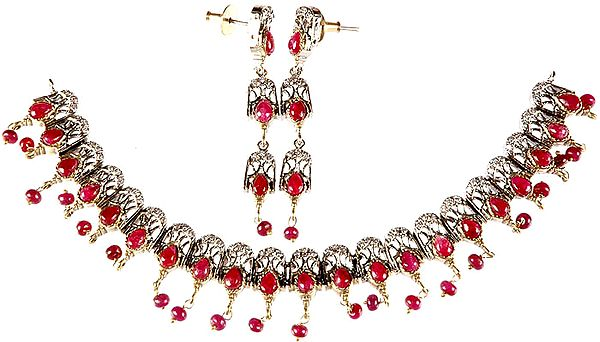 Ruby Necklace with Charms and Earrings