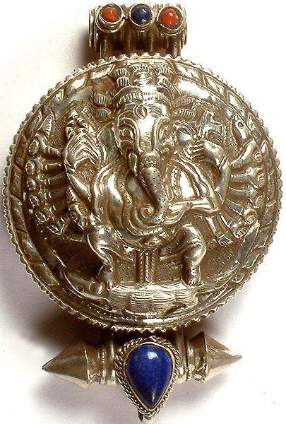 Shri Ganesha Charm Box Pendant with Coral and Lapis Lazuli