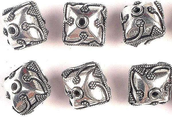 Square Beads with Granulation and Stems (Price Per Piece)