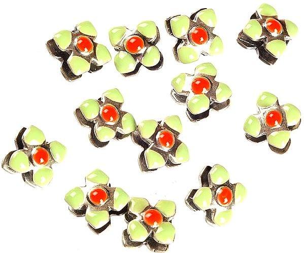Square Flower Beads of Meenakari (Price Per Pair)