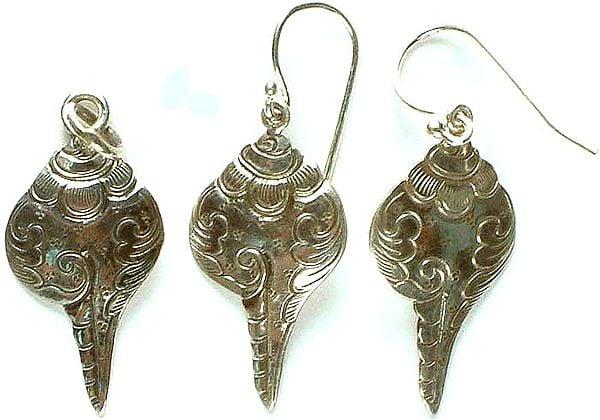 Sterling Conch Pendant & Earrings Set