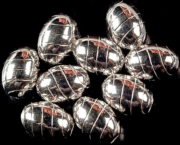 Sterling Fine Incised Oval Beads (Price Per Piece)