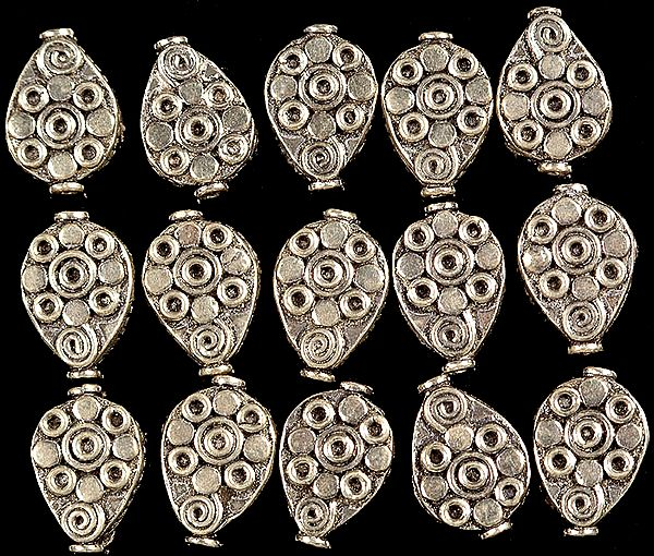 Sterling Floral Pear Flat Beads (Price Per Pair)