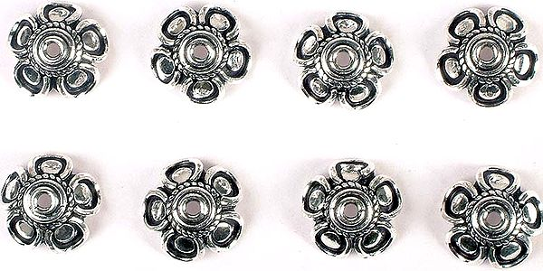 Sterling Flower Caps with Knotted Rope<br>(Price Per Four Pieces)