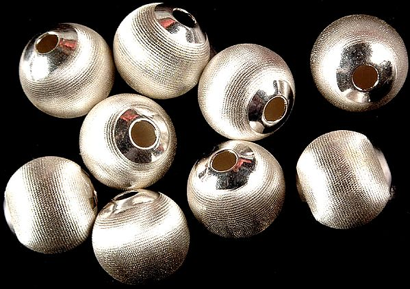 Sterling Frosted Incised  Beads (Price Per Piece)