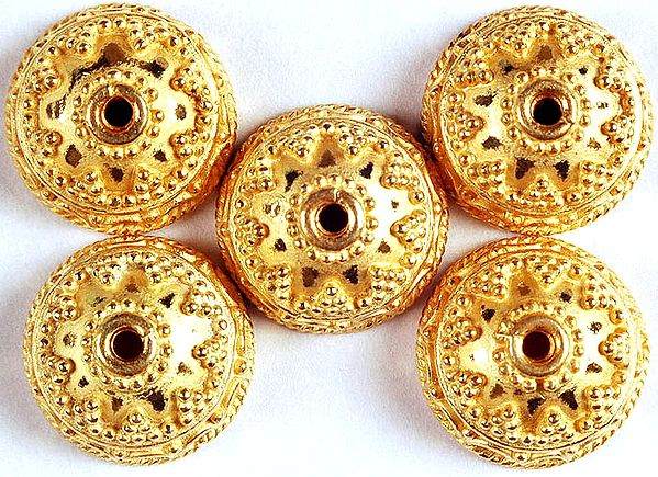 Sterling Gold Plated Granulated Fine Caps (Price Per Piece)