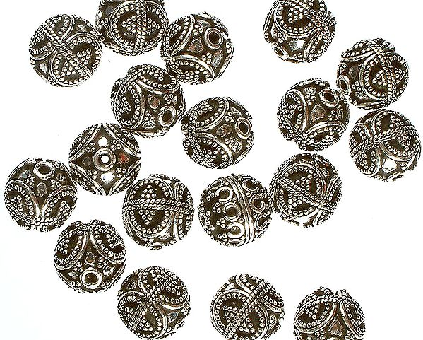 Sterling Granulated Ball Beads with Knotted Ropes (Price Per Pair)