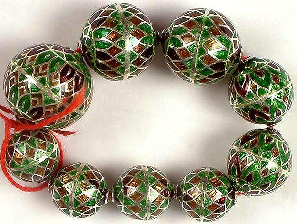 Sterling Meenakari Beads