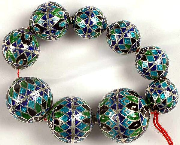 Sterling Meenakari Beads (Price Per Nine Pieces)