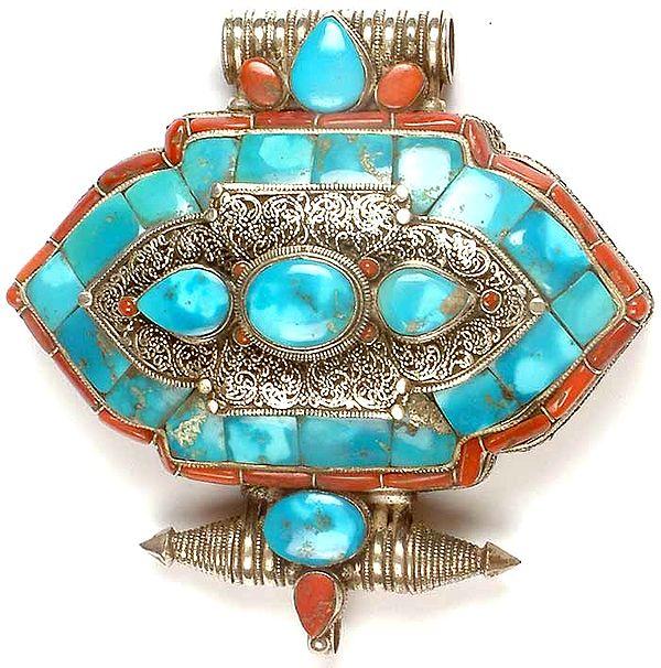 Tibetan Gau Box Pendant with Filigree