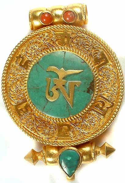 Tibetan Om Pendant (Gold Plated Gau Box)