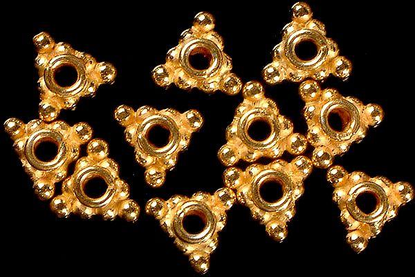 Triangular Gold Plated Beads (Price Per Pair)