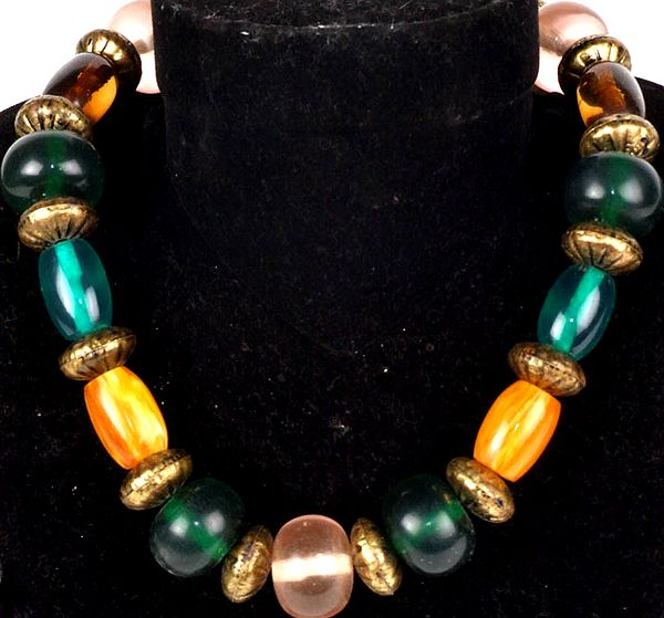 Tri-Color Beaded Necklace