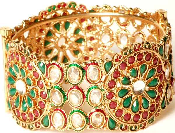 Tri-Color Floral Polki Bangle with Cut Glass
