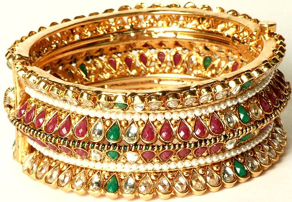 Tri-Color Polki Bridal Kangan with Cut Glass (bracelet)
