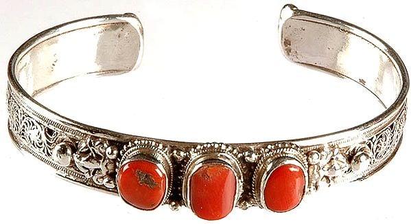 Triple Coral Filigree Bracelet