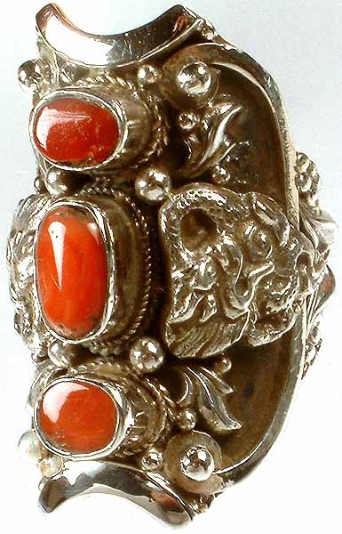 Triple Coral Ring with Dragon