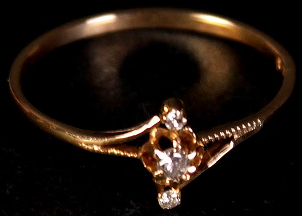 Triple Diamond Gold Ring