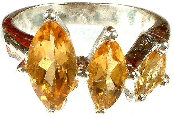Triple Marquis Citrine Ring