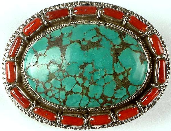 Turquoise & Coral Belt Buckle