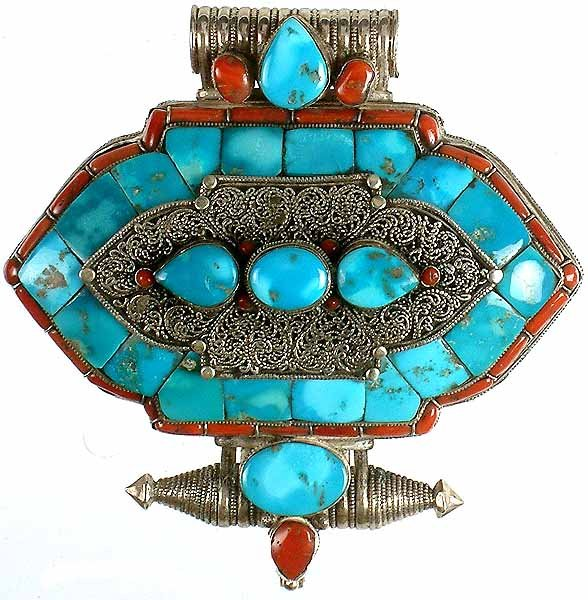 Turquoise Gau Box Pendant with Coral and Filigree