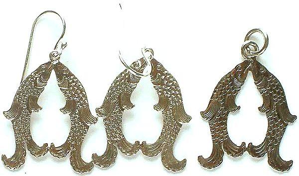 The Golden Fishes (Skt. suvarnamatsya; Tib. gser nya) (Sterling Pendant & Earrings Set)