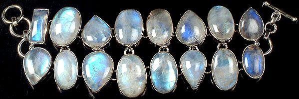 Two Layer Rainbow Moonstone Bracelet