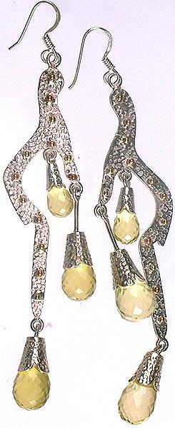 Victorian Lemon Topaz Drop Earrings
