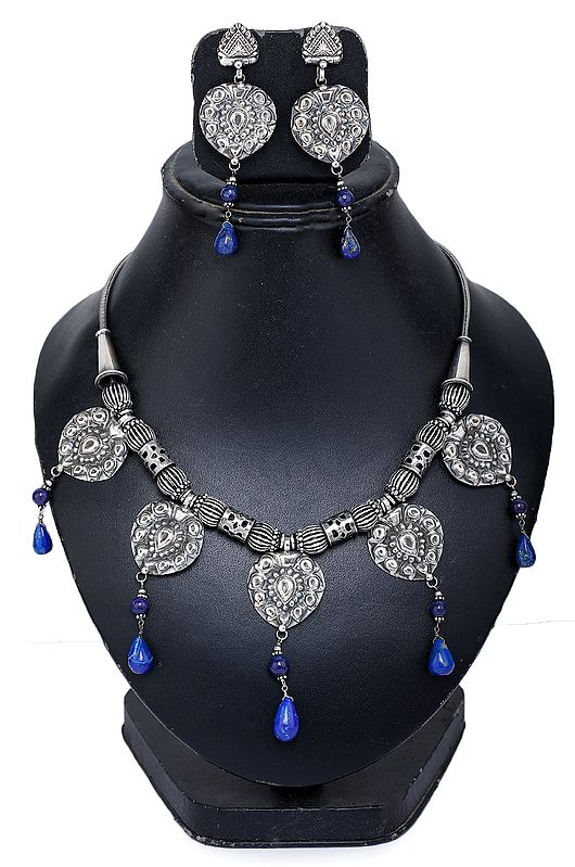 Lapis Lazuli Ethnic Necklace with Earrings Set