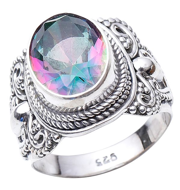 Faceted Mystic Topaz Ring