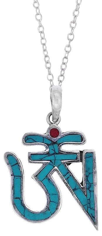 Turquoise Colored Tibetan Om (AUM) Inlay Pendant from Nepal