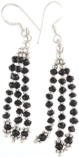 Faceted Black Onyx Earrings - Sterling Silver